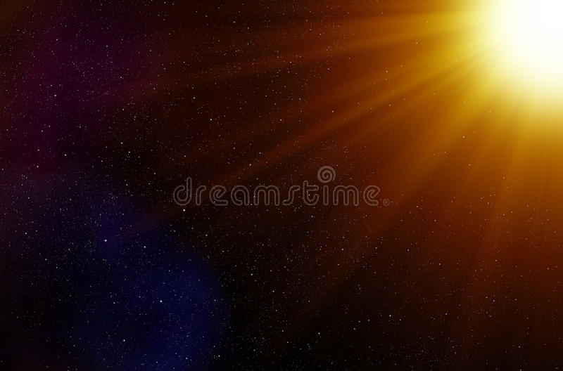 Fond d'étoiles de l'espace et de rayons légers illustration libre de droits