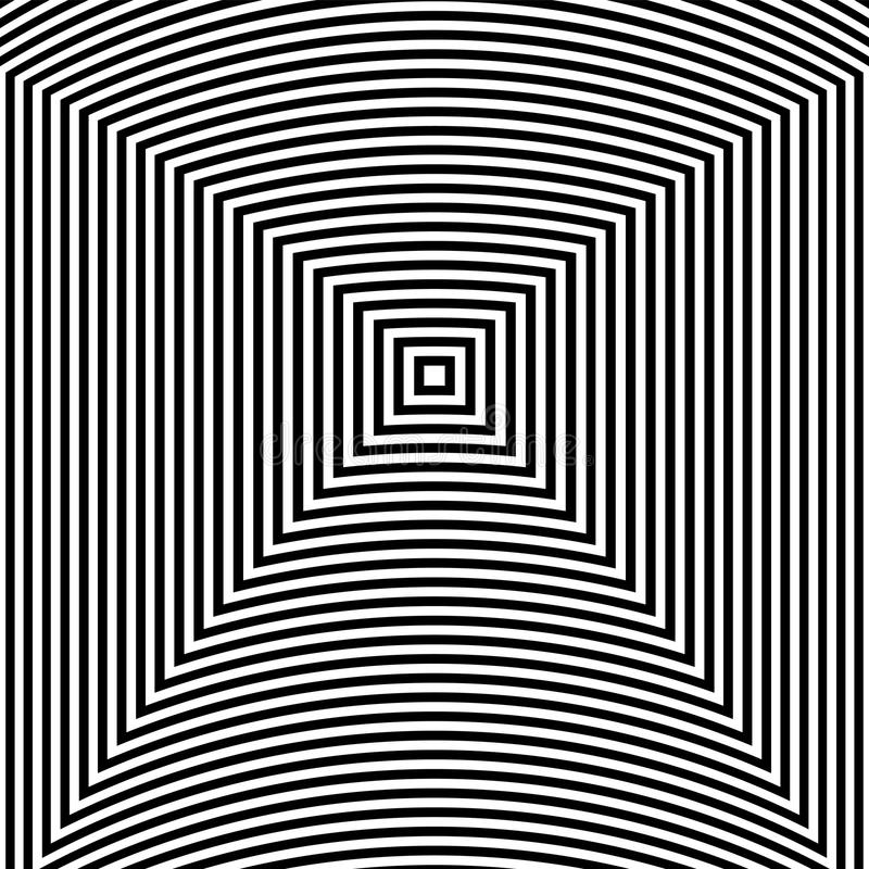 Fond d'abrégé sur art d'illusion optique Modèle carré hypnotique géométrique monochrome noir et blanc illustration stock
