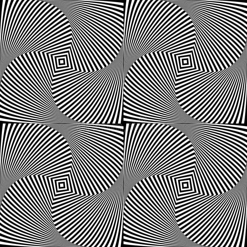 Fond d'abrégé sur art d'illusion optique Modèle sans couture hypnotique géométrique monochrome noir et blanc illustration stock