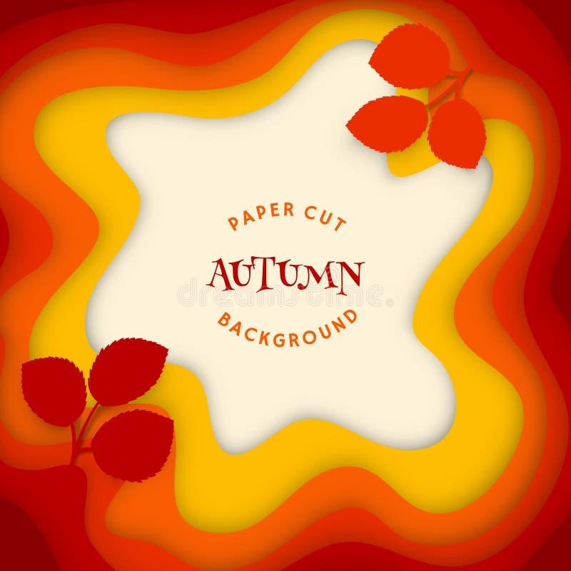 Fond d'abrégé sur automne avec l'art de découpage coloré illustration de vecteur