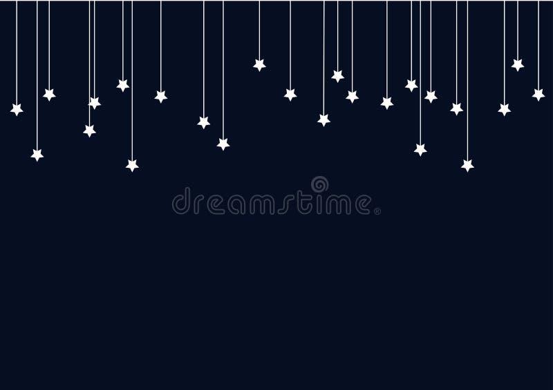 Fond d'abrégé sur bleu marine avec des étoiles de blanc sur des ficelles image libre de droits