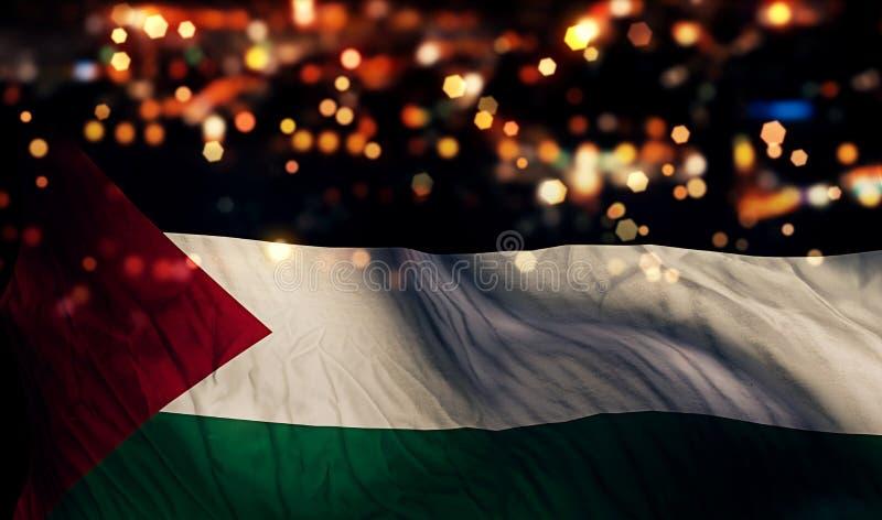 Fond d'abrégé sur Bokeh de nuit de lumière de drapeau national de la Palestine images libres de droits