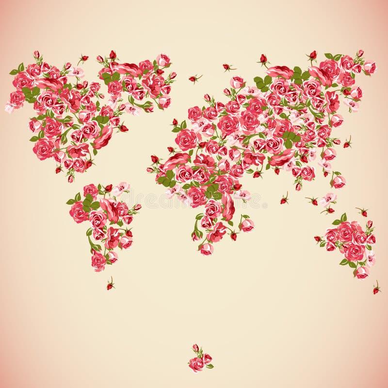 Fond D'abrégé Sur Eco De Carte Du Monde De Fleur Illustration de
