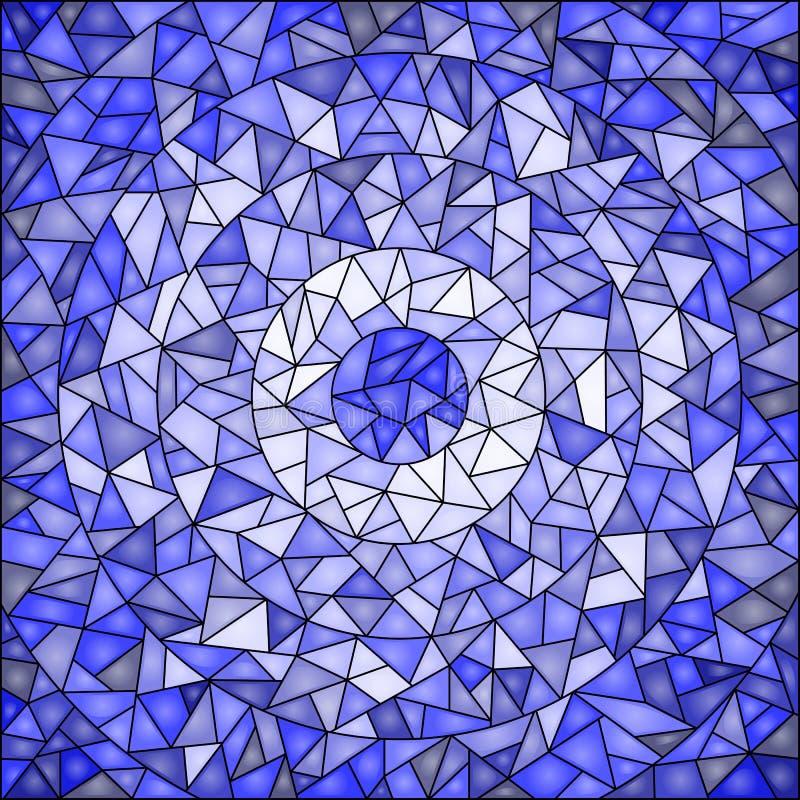 Fond d'abrégé sur illustration en verre souillé, bleu gamma illustration stock