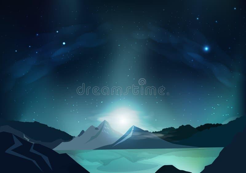 Fond d'abrégé sur imagination, scène bleue de nuit avec la pleine lune, fa illustration libre de droits