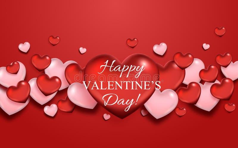 Fond d'abrégé sur jour du ` s de Valentine avec les coeurs rouges et roses illustration stock