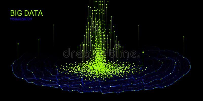 Fond d'abrégé sur la vague 3D Grande visualisation de données illustration de vecteur