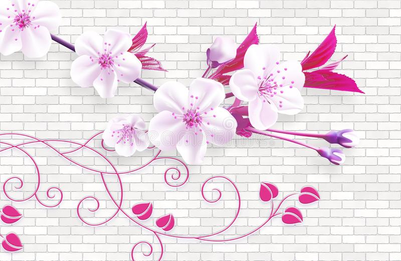 fond d'abrégé sur le papier peint 3d avec les briques de mur et la branche verte de fleurs de rose illustration libre de droits