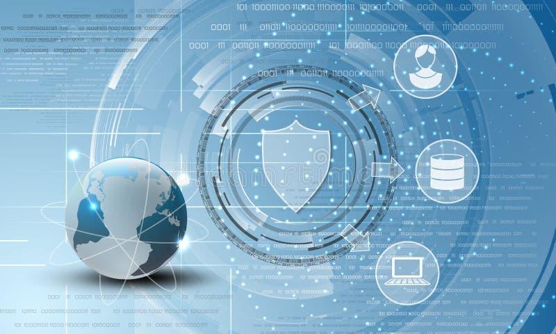 Fond d'abrégé sur protection des données du monde illustration libre de droits