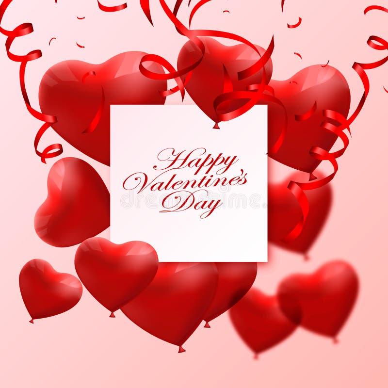 Fond d'abrégé sur Saint-Valentin avec les ballons 3d rouges Forme de coeur 14 février, amour Carte de voeux l'épousant romantique illustration stock