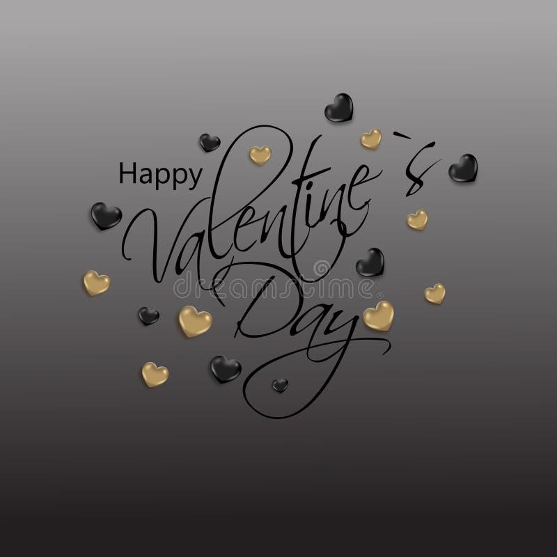 Fond d'abrégé sur Saint-Valentin avec les coeurs d'or et noirs illustration de vecteur