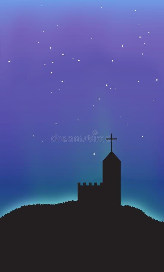 Fond d'abrégé sur scène de ciel de nuit de l'aurore d'église illustration libre de droits