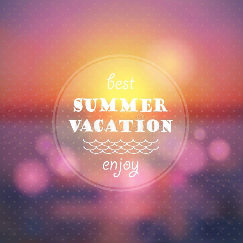 Fond d'abrégé sur vacances d'été. Coucher du soleil sur l'illustration de plage de mer illustration stock