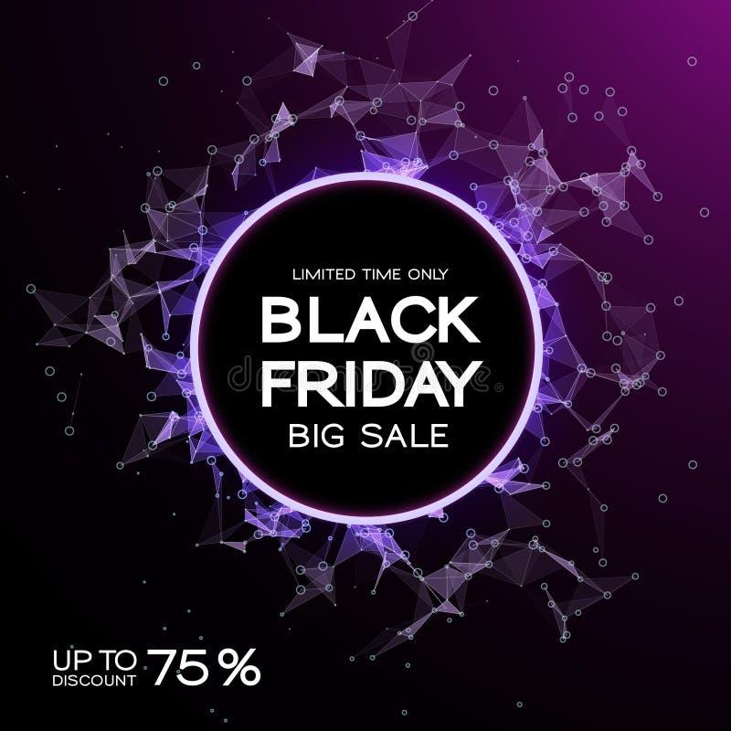Fond d'abrégé sur vente de Black Friday Style futuriste de technologie Grandes données Conception avec le plexus illustration libre de droits