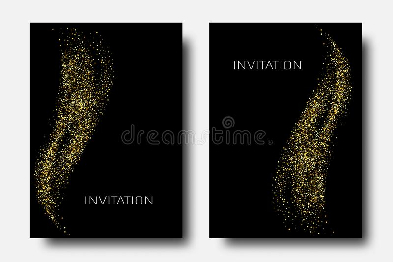 Fond d'abr?g? sur vague de scintillement d'or de vecteur, ?tincelles d'or sur le fond noir, calibre de conception de VIP illustration stock