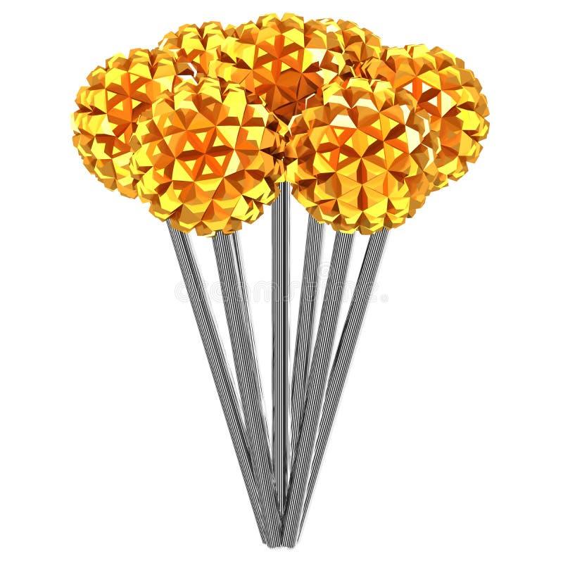 Fond d'Abstarct - fleurs en métal rendu 3d illustration de vecteur