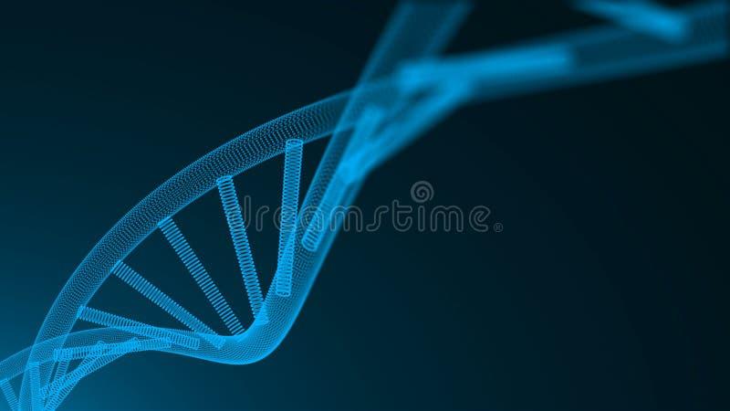 Fond 3d abstrait avec la molécule d'ADN avec beaucoup de points, concept de la science, illustration générée par ordinateur futur illustration stock
