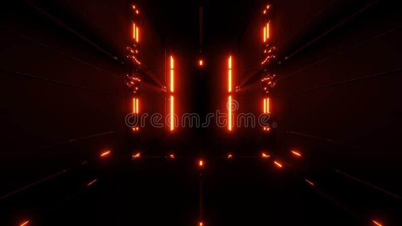 Fond d'or abstrait de tunnel de réflexion avec l'orange chaud 3d rendre illustration stock