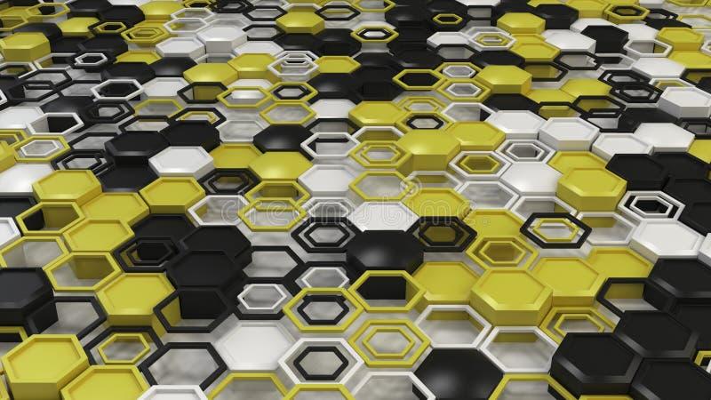 Fond 3d abstrait fait d'hexagones noirs, blancs et jaunes sur le fond blanc illustration de vecteur