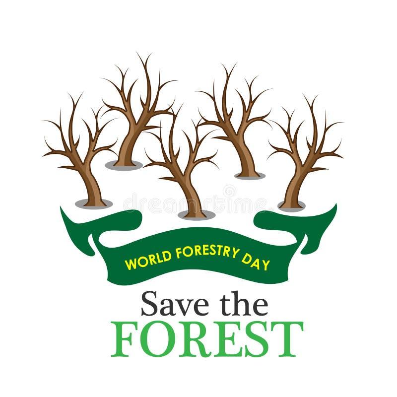 Fond d'actions de jour de sylviculture du monde sauf la forêt, arbre mort illustration de vecteur