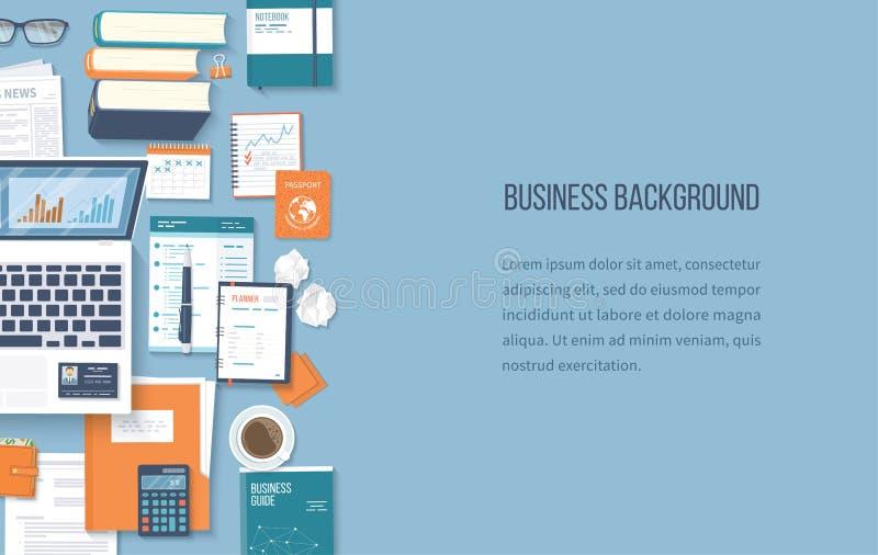 Fond d'affaires de lieu de travail Vue supérieure d'ordinateur portable de fournitures de bureau, dossier, documents, bloc-notes, illustration stock