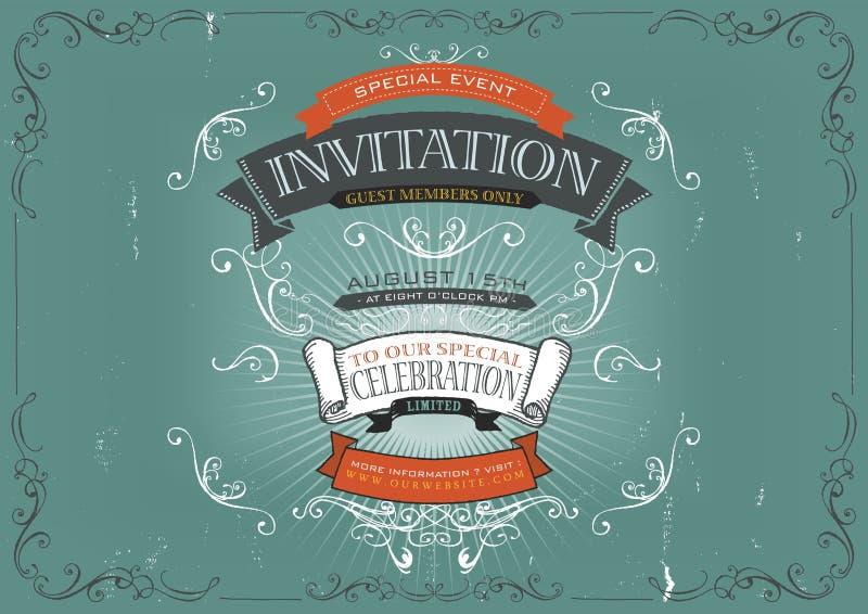 Fond d'affiche d'invitation de vintage illustration stock