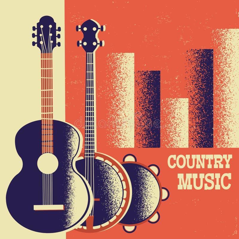 Fond d'affiche de musique country avec des instruments de musique et décembre illustration de vecteur