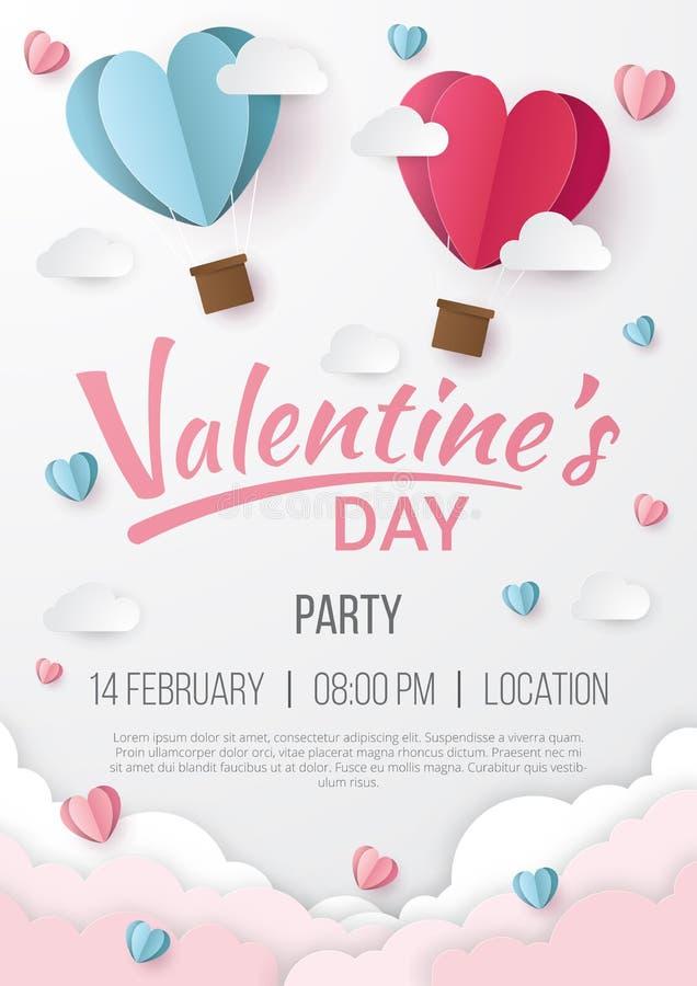Fond d'affiche de partie de jour de valentines avec le style de coupe de papier de coeur illustration de vecteur