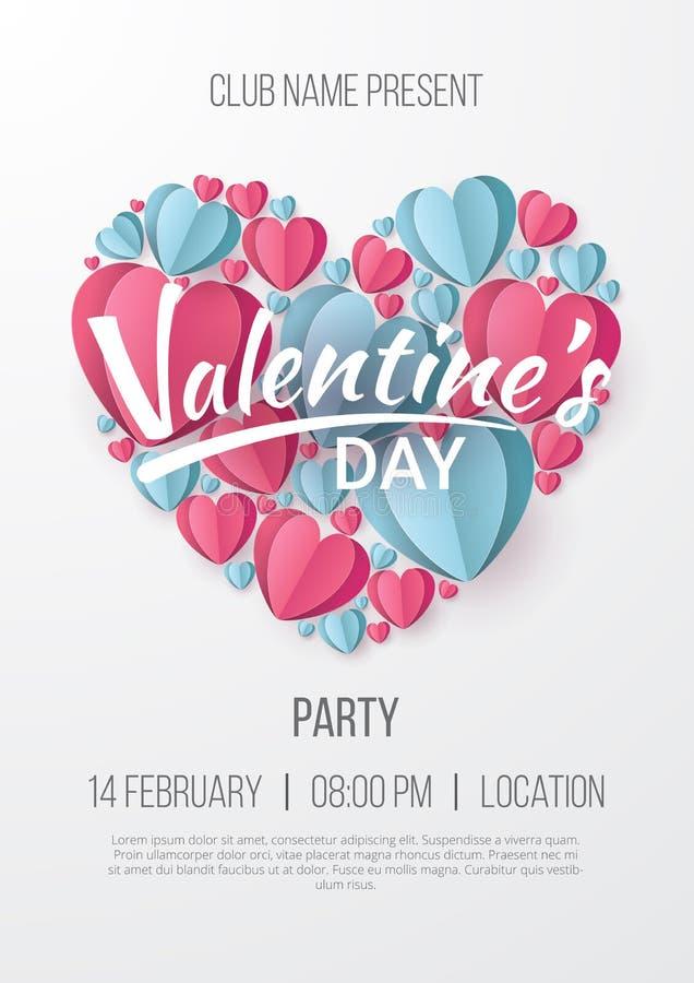Fond d'affiche de partie de jour de valentines avec le style de coupe de papier de coeur illustration libre de droits