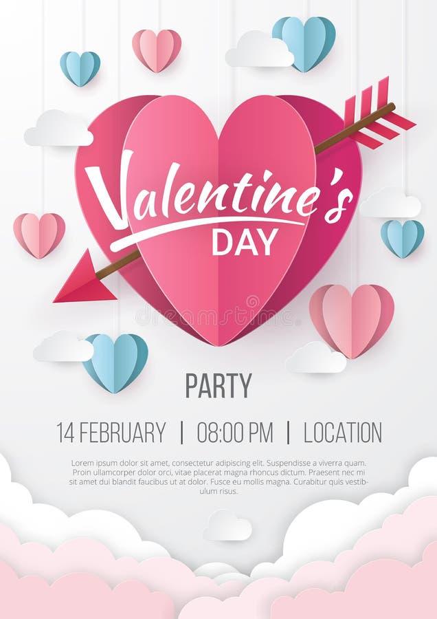 Fond d'affiche de partie de jour de valentines avec le style de coupe de papier de coeur illustration stock