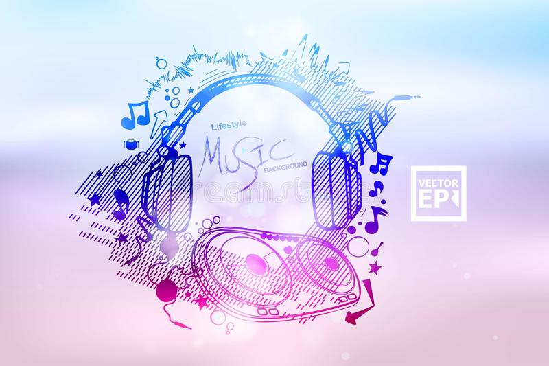 Fond d'affiche pour l'événement de disco de club de musique avec la couleur d'arc-en-ciel illustration de vecteur