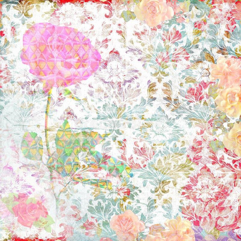 Fond d'album avec des fleurs et des ornements images stock