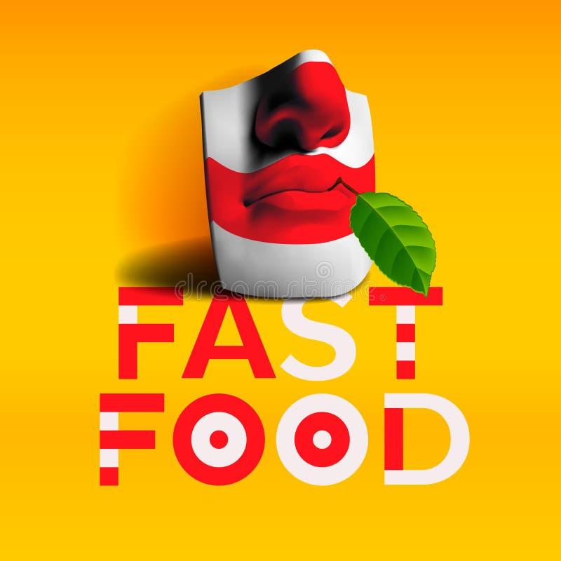 Fond d'aliments de préparation rapide de mot illustration de vecteur