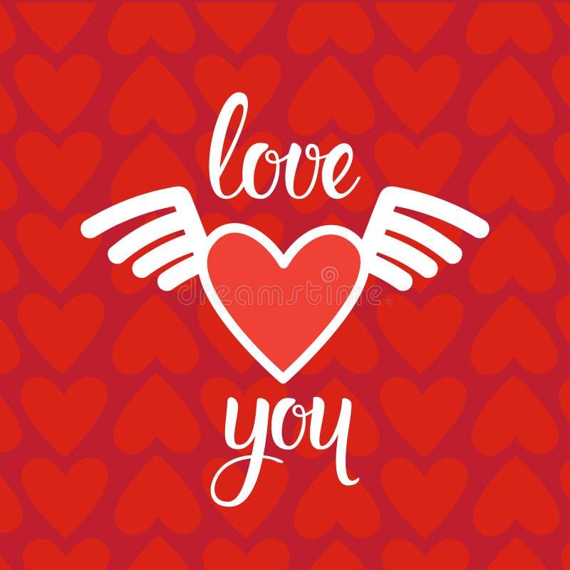 Fond d'amour avec les coeurs rouges et carte de voeux tirée par la main d'invitation ou de vintage de lettrage pour le jour de va illustration stock