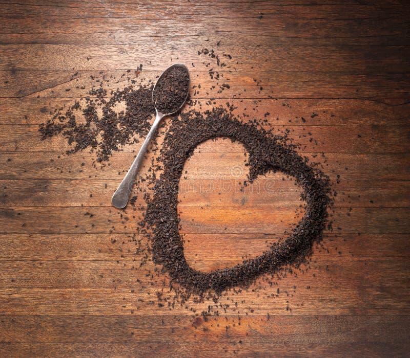 Fond d'amour de thé de coeur images stock
