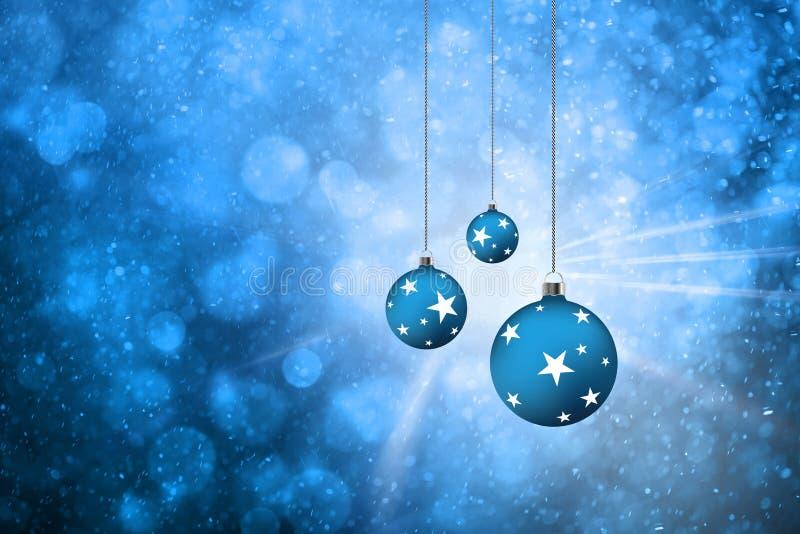 Fond d'ampoules de Noël coloré par bleu illustration libre de droits