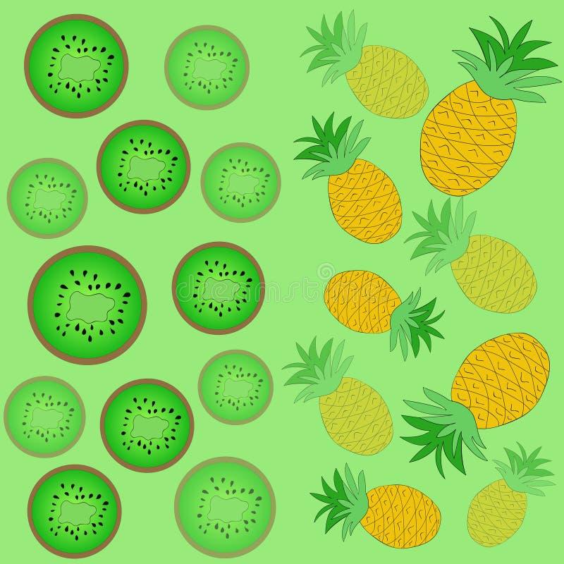 Fond d'ananas et de kiwi Vecteur dr?le photo libre de droits
