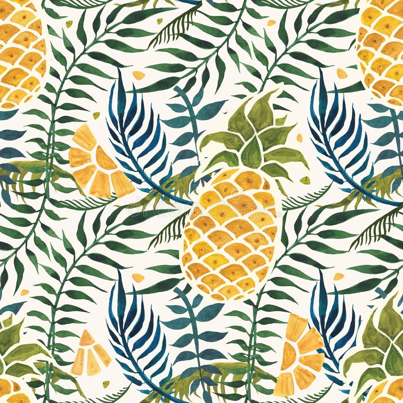 Fond d'ananas Modèle sans couture d'aquarelle illustration libre de droits