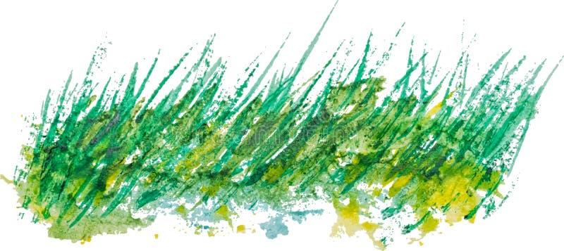Fond d'aquarelle avec l'herbe linéaire de vintage illustration de vecteur