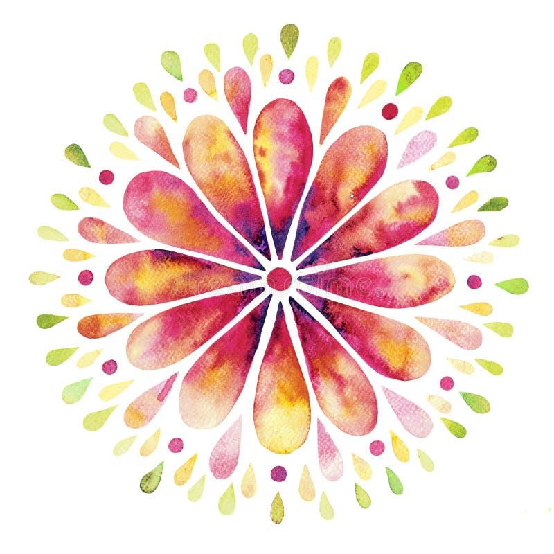 Fond d'aquarelle avec la guirlande florale illustration stock