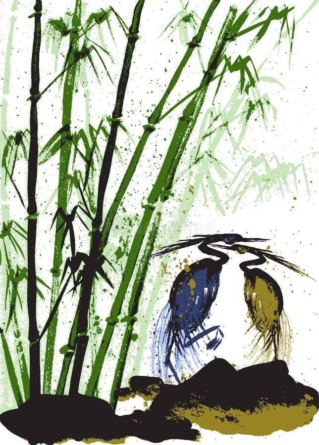 Fond d'aquarelle avec le bambou et les hérons Vecteur courant illustration stock