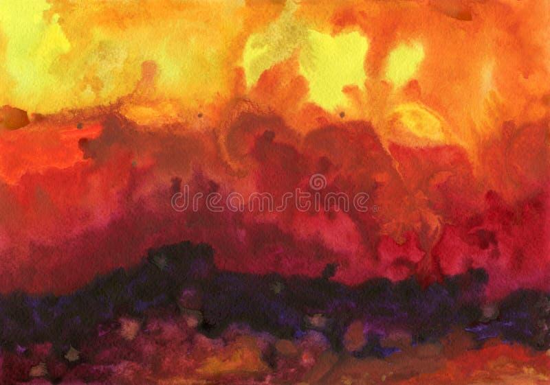 Fond d'aquarelle Ciel d'imagination et nuages ensoleillés illustration de vecteur