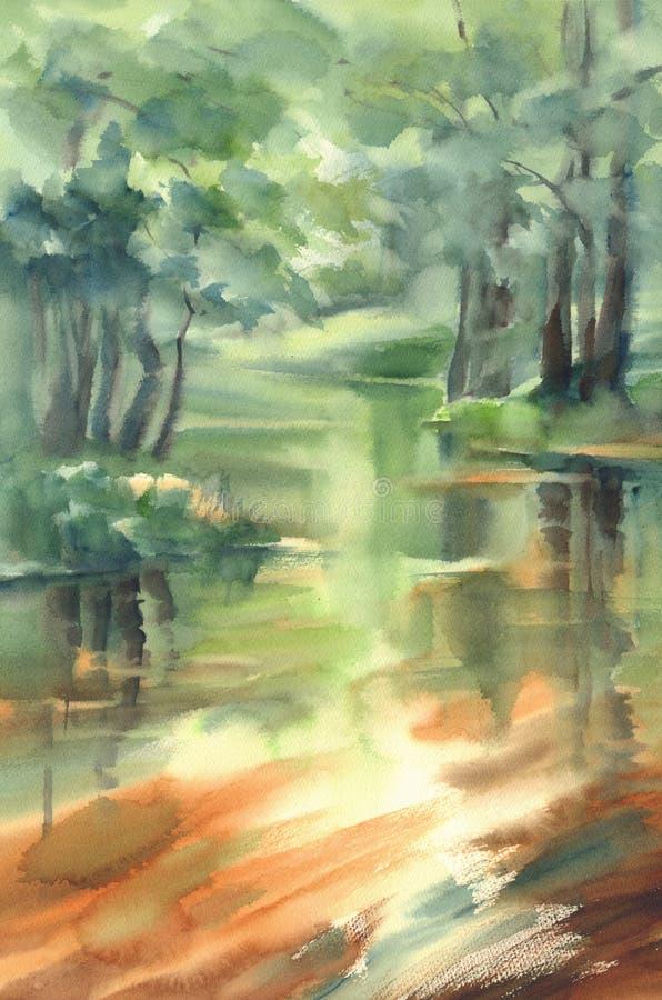 Fond d'aquarelle de paysage de réflexions de forêt et de rivière illustration stock