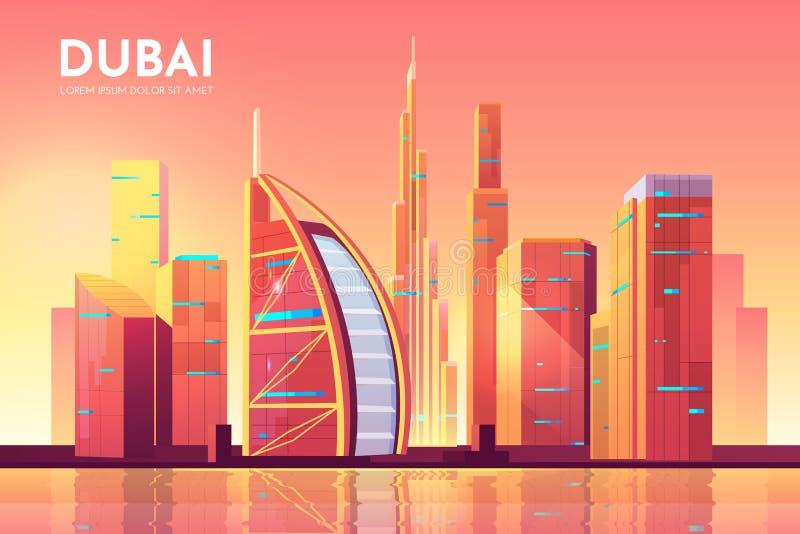 Fond d'architecture de Dubaï, paysage urbain des EAU illustration de vecteur
