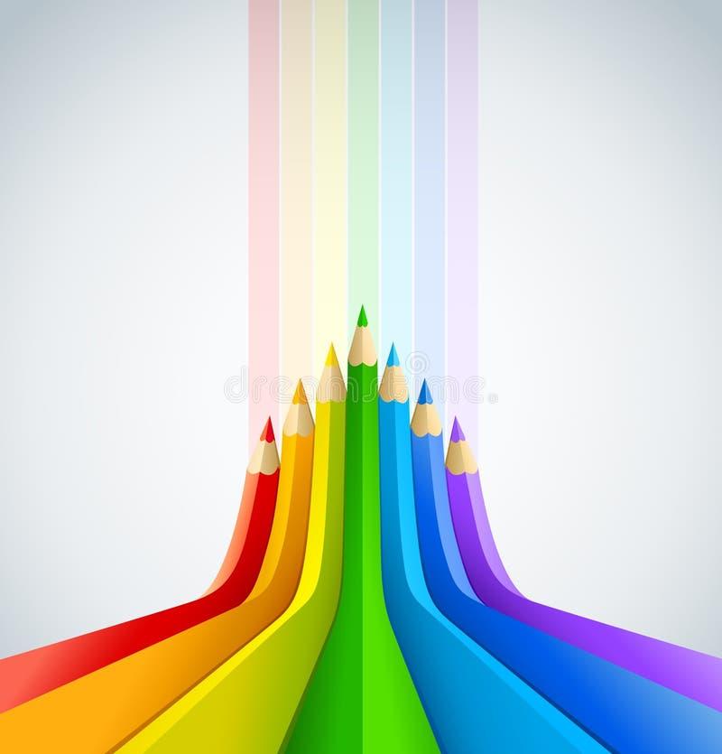 Fond d'art abstrait avec des crayons de couleur illustration de vecteur