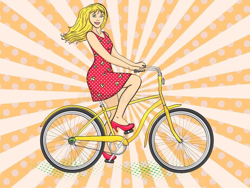 Fond d'art de bruit avec des rayons du soleil Rétro vecteur de jeune de beauté de femme bicyclette de tour Imitation de style de  illustration libre de droits