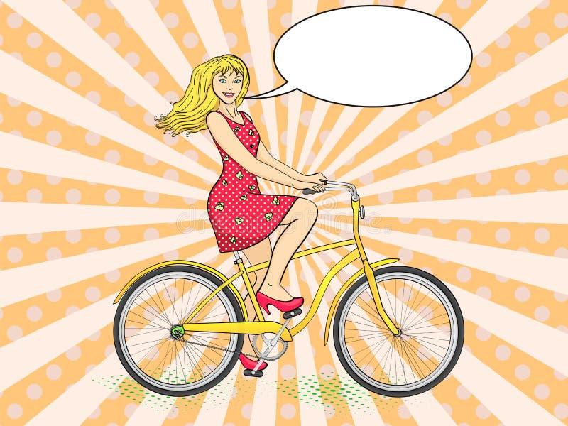 Fond d'art de bruit avec des rayons du soleil Rétro vecteur de jeune de beauté de femme bicyclette de tour Imitation de style de  illustration de vecteur
