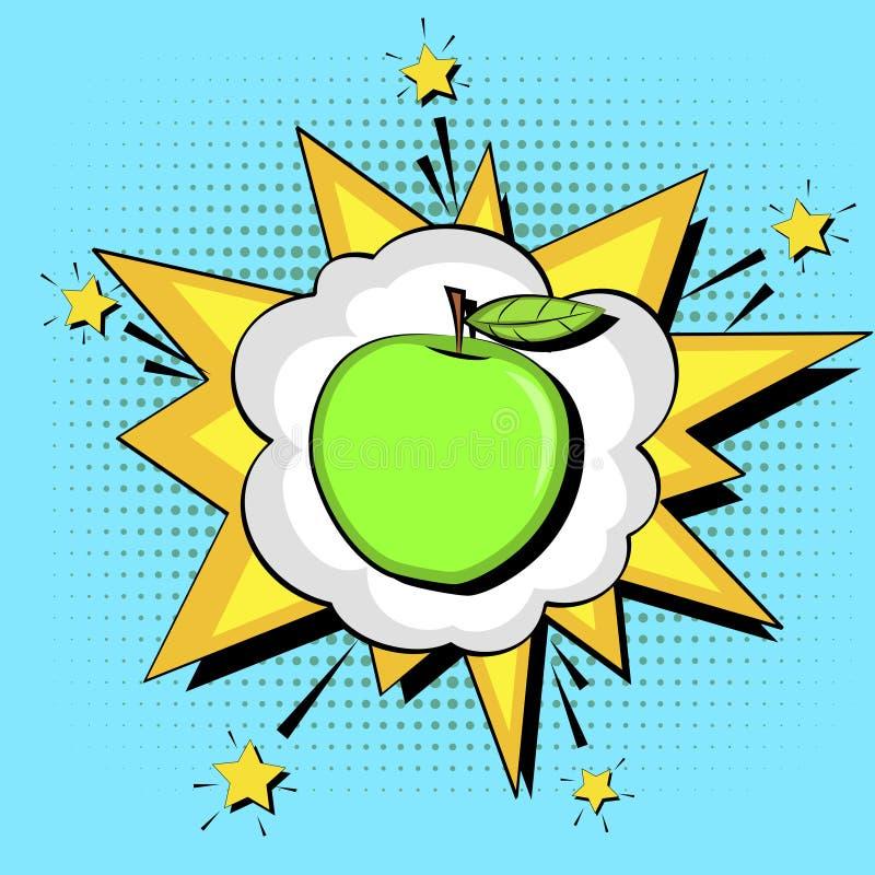 Fond d'art de bruit Bulle des textes de souffle Nutrition appropriée, pomme verte Vecteur illustration de vecteur