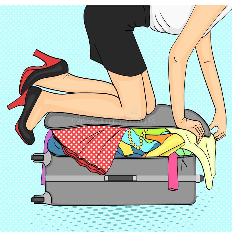 Fond d'art de bruit Voyage de Tema et rassemblement femelle Choses qui ne s'insèrent pas dans la valise trame illustration stock