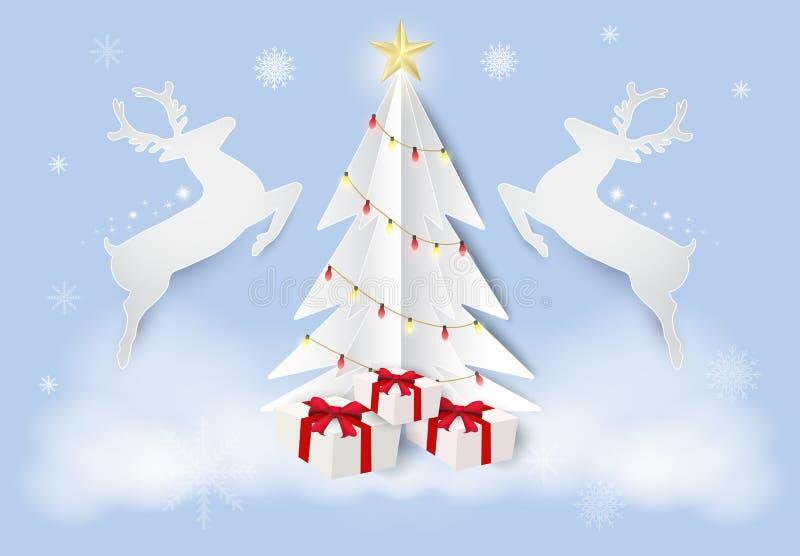 Fond d'art de papier de saison de Noël Cerfs communs et pin illustration de vecteur